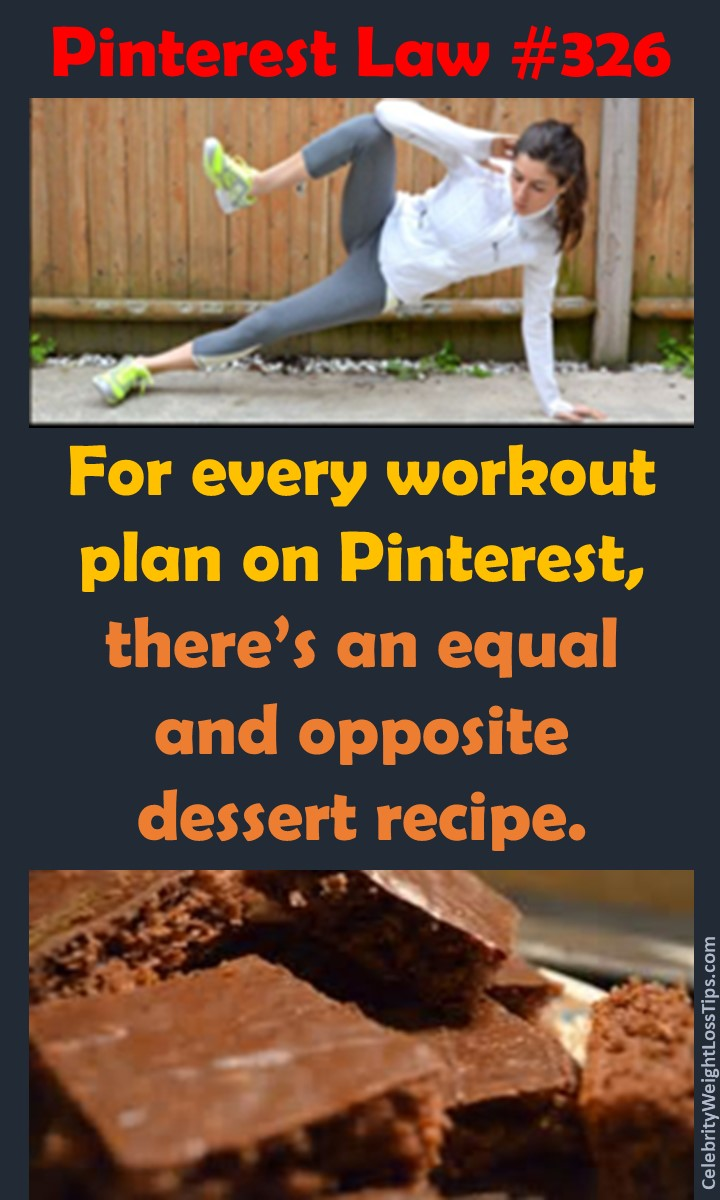 Pinterest Law 326: For every workout plan on Pinterest there's an equal and opposite dessert recipe.