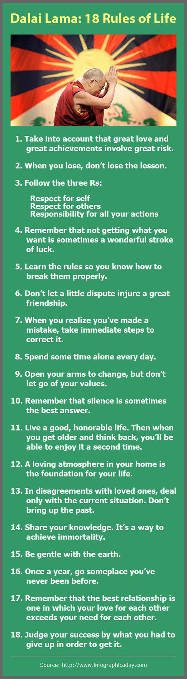 18 Rules of Life via the Dalai Lama