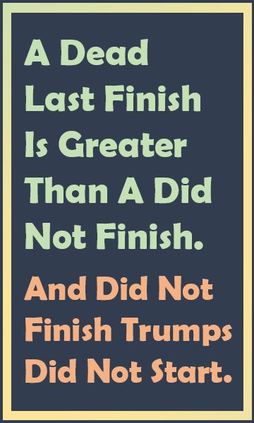 A dead last finish is greater than a did not finish. And did not finish trumps did not start.