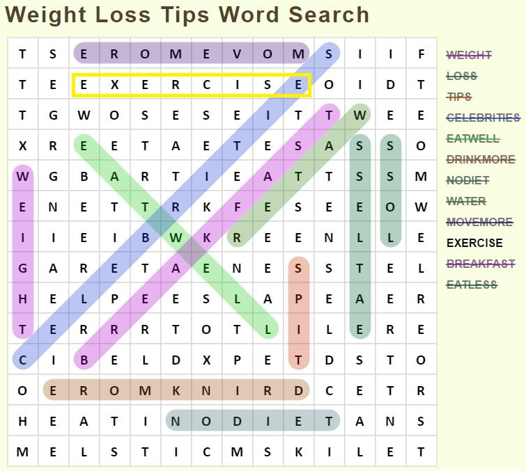 Weight Loss Tips Word Search results